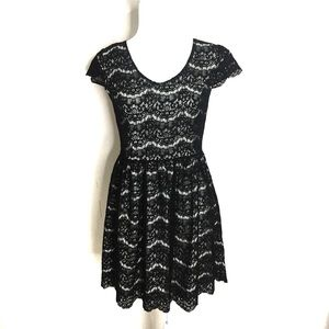 Kensie Black Lace and White Dress with Cap Sleeves